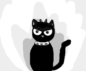 Evil black cat demon has fiery passion