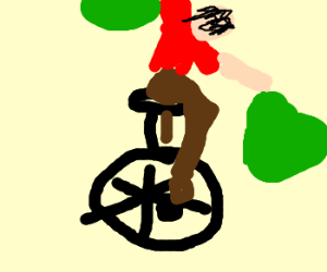 atheist getting on a unicycle with stuff
