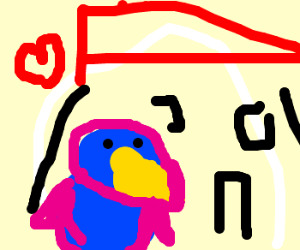 blue and pink pinguin shape houses in love