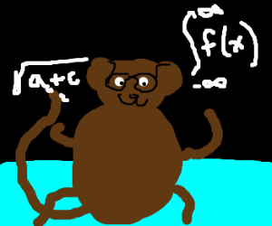 bespectacled monkey teaching math