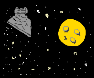 Star Destroyer heads for moon made of cheese.