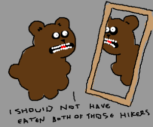 Brown bear feels fat.
