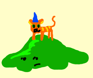 Funny cat with Green slime