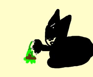 Cat captures a liquid molten turtle