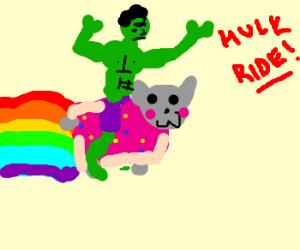 Hulk riding Nyan cat