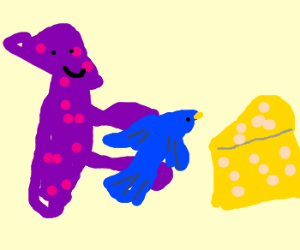 A polka dotted creature gives cheese the bird
