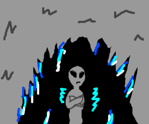 An Alien Freezing to death in a Cave