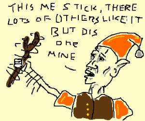 An elf waves a stick around