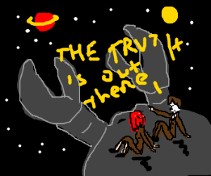 mulder and scully riding a crab in space