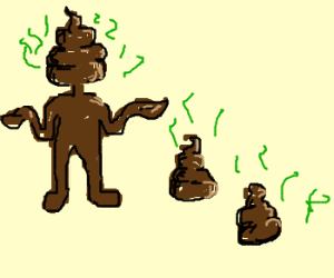 BrownPoopguy with little poops by sides of him