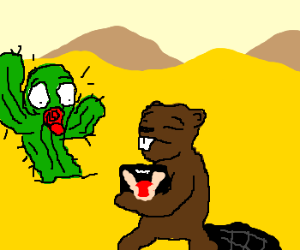 Cactus is horrified by what Beaver is carrying