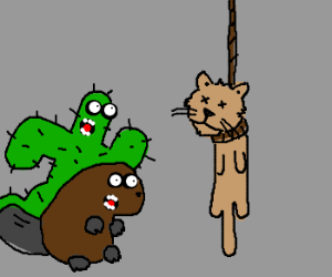 Beaver & Cactuar surprised by cute hanging cat