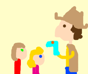 Cowboy puts on a puppet show for children
