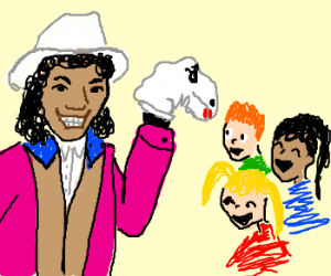Cowboy entertains children with sock puppet.