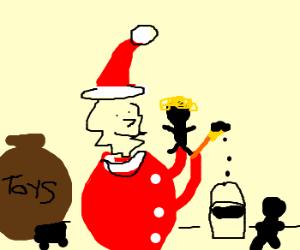"""""""Heh, I just color them black"""" Santa admits."""