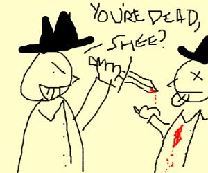 Wangsta stabbing another wangsta.