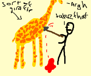 Tribal guy stabs giraffe-ish animal with spear