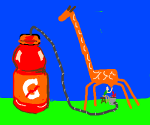 man milks a giraffe for red gatorade