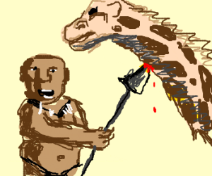 Blackface person stabbing a giraffe
