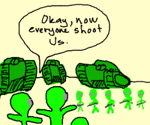 martians attack themselves with guns and tanks