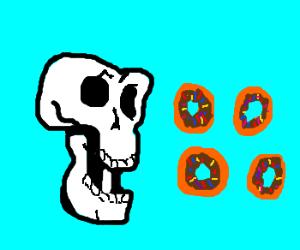 Skull eats 4 tiny donuts