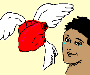 winged heart brings kleenex to an excited man