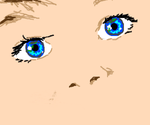 A child's blue eyes.