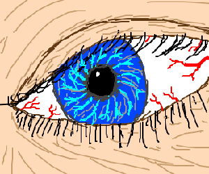 Close up of a blue eye with red veins