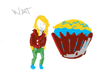 blonde with cupcakes, Austin Powers style