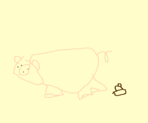 A pig and a pile of smelly poop