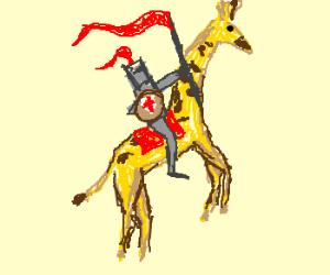 A Knight rides his valiant giraffe steed.