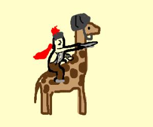 spartan warrior rides giraffe with helmet