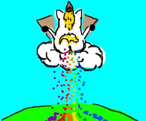 unicorn pooping rainbow sprinkles drawception