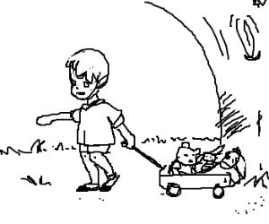 C. Robin, Pooh, Piglet, & Eeyore in a wagon.