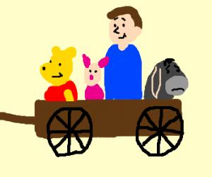 Christopher Robin takes toys on wagon ride