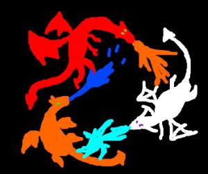 War of elemental dragons (ice fire water etc)