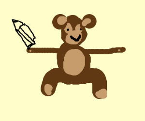 stick armed gorlla with a pencil