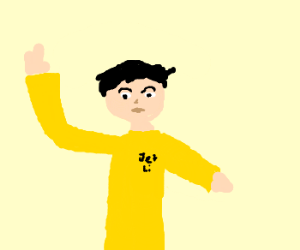 Jet Li fights in yellow.