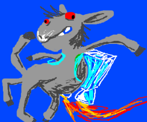 A deformed donkey with a jetpack.
