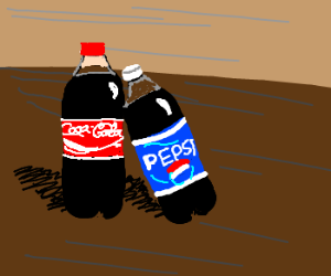 Pepsi fondles Coca-Cola, who loves it.