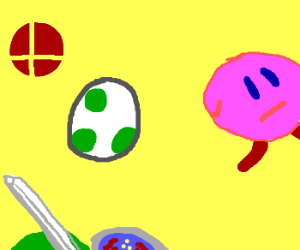 A battle between Link, Kirby and Yoshi.