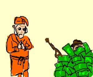 scrooge kills timothy, hides body in cash