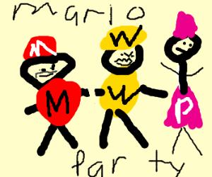 Mario Wario  waluigi and Princess peach