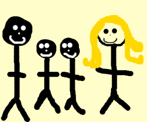 A family of Black head men and Blondie women