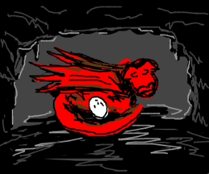 red dragon protects egg