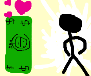 Money is in love with a faceless stick man