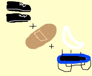 Shoes + (moon+trampoline) + bandaid =?