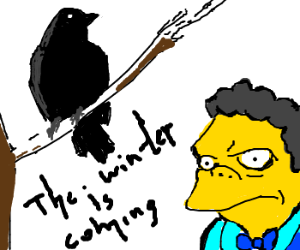 A raven tells his woes to Moe