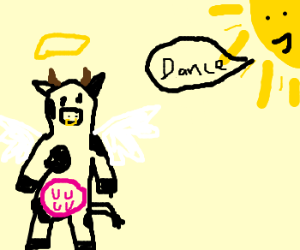 The holy cow dances in the sunlight - Drawception