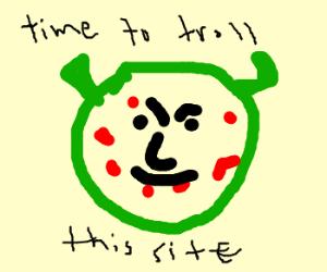 shrek w/ acne is a stupid drawception troll